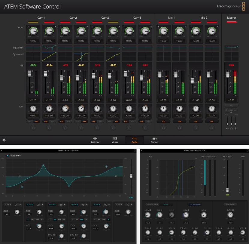 6バンドEQ、コンプレッサー、リミッターに対応した内蔵オーディオミキサー